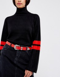 ASOS Leather Western Tip Waist And Hip Belt - Red