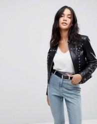 ASOS Leather Zip Through Studded Western Jacket - Black