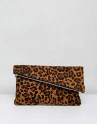 ASOS Leopard Foldover Clutch Bag - Multi