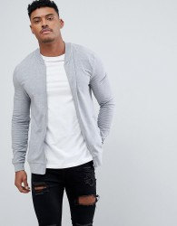 ASOS Lightweight Muscle Fit Jersey Bomber Jacket In Grey Marl - Grey
