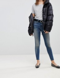 ASOS LISBON In Skinny Mid Rise Jeans In Elliot Aged Mid Wash - Blue