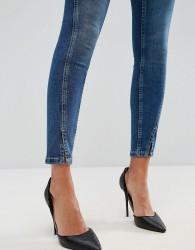 ASOS LISBON Skinny Mid Rise Jeans in Mid Wash Blue with Twisted Seams - Blue