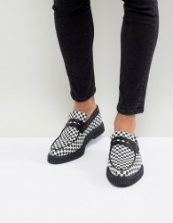 ASOS Loafers In Black And White Checkerboard Print With Creeper Sole - Black
