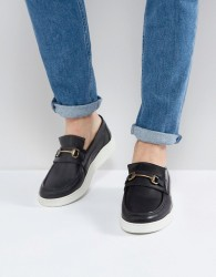 ASOS Loafers In Black Leather With White Sole And Snaffle - Black