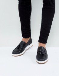 ASOS Loafers In Black Leather With White Sole - Black