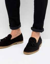ASOS Loafers In Black Suede With Natural Sole - Black