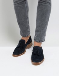 ASOS Loafers In Navy Suede With Natural Sole And Fringe Detail - Navy