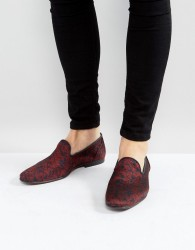 ASOS Loafers In Red And Blue Paisley Pattern - Red