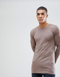 ASOS Longline Cotton Jumper In Light Brown - Brown