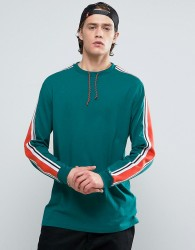 ASOS Longline Long Sleeve T-Shirt With Bright Sleeve Tipping In Retro Styling - Green