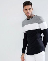 ASOS Longline Long Sleeve T-Shirt With Twisted Jersey Yoke Panel And Tipping Neck - Black