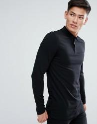 ASOS Longline muscle fit Long Sleeve Polo In Jersey - Black