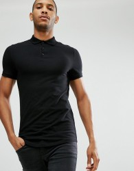 ASOS Longline Muscle Polo With Curve Hem - Black