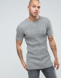 ASOS Longline Ribbed Knitted T-Shirt in Muscle Fit - Green
