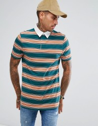 ASOS Longline Stripe Rugby Polo Shirt - Green