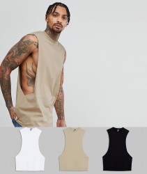 ASOS Longline Vest With Extreme Dropped Armhole 3 Pack SAVE - Multi