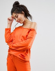 ASOS LOUNGE Ripped Off Shoulder Sweat - Orange
