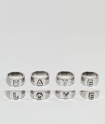 ASOS Love And Hate Ring Pack - Silver
