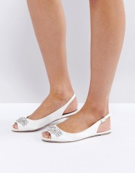 ASOS LOVE AT FIRST SIGHT Bridal Embellished Ballet Flats - White