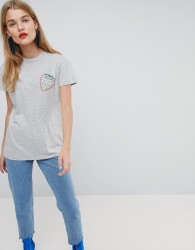 ASOS Made In Kenya T-Shirt With Strawberry Embroidery - Grey