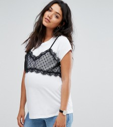 ASOS Maternity 2 in 1 Lace Bralet T-Shirt - White