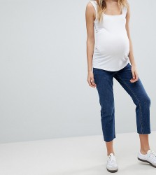 ASOS MATERNITY AUTHENTIC STRAIGHT Leg High Waisted Jeans In Dark Stone Wash With Raw Hem And Under The Bump Waistband - Blue