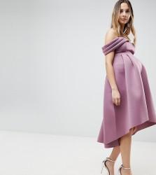 ASOS MATERNITY Bardot Cold Shoulder Dip Back Midi Prom Dress - Pink