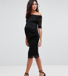 ASOS Maternity Bardot Dress with Half Sleeve in Lace - Black