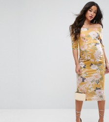 ASOS Maternity Bardot Dress with Half Sleeve in Yellow Base Floral Print - Multi