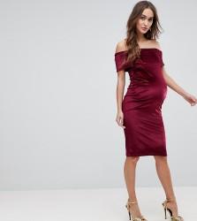 ASOS MATERNITY Bardot Velvet Bodycon Dress - Red