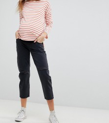 ASOS MATERNITY Barrell Leg Boyfriend Jeans in Washed Black with Knee Rips With Over The Bump Waistband - Black