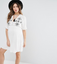 ASOS Maternity Beach Dress With Embroidery - White