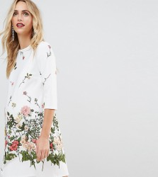 ASOS Maternity Botanical Floral Shift Dress - White