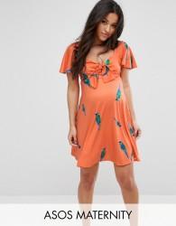 ASOS Maternity Bow Front Mini Skater Dress In Parrot Print - Multi