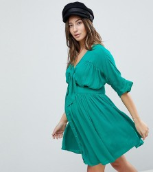 ASOS Maternity Casual Mini Tea Dress In Crinkle With Bow - Green