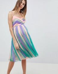 ASOS MATERNITY Colourblock Mesh Fit and Flare Midi Dress - Multi