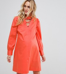 ASOS Maternity Dress with Lattice Front - Orange