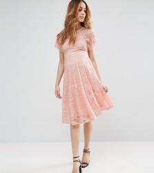 ASOS Maternity Flutter Sleeve Lace Skater Dress - Pink
