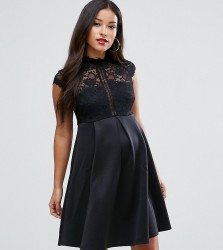 ASOS Maternity High Neck Mini Skater Dress with Lace Top - Black