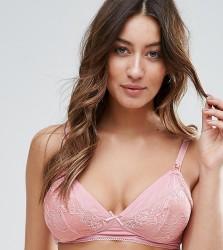ASOS MATERNITY Julia Soft Jersey & Lace Non-Wired Nursing Bra - Pink