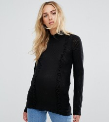 ASOS Maternity Jumper With Ruffle Detail - Black