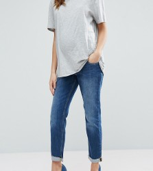 ASOS Maternity Kimmi Boyfriend Jeans In Roxy Wash With Over The Bump Waistband - Blue