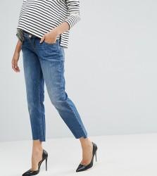 ASOS MATERNITY KIMMI Shrunken Boyfriend Jeans in Blake Vintage Darkwash and Stepped Hem with Over the Bump Waistband - Blue