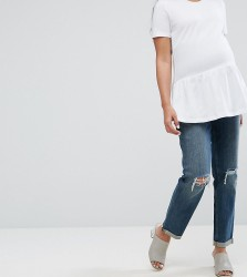 ASOS MATERNITY KIMMI Shrunken Boyfriend Jeans in Misty Wash with Busts and Rips With Over The Bump Waistband - Blue