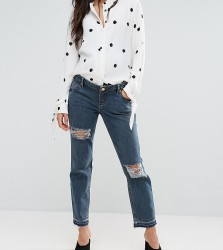 ASOS MATERNITY KIMMI Shrunken Boyfriend Jeans in Rachel wash with Rips and Let Down Hem With Over The Bump Waistband - Blue