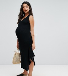 ASOS Maternity Knitted Dress with Hem Detail - Black
