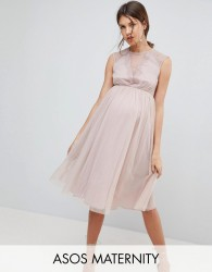 ASOS Maternity Lace Tulle Cap Sleeve Midi Dress - Pink