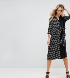 ASOS Maternity NURSING Check Shirt Dress with Tie Front Detail - Multi