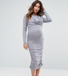 ASOS Maternity NURSING Cowl Neck Dress - Grey