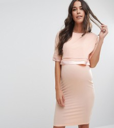 ASOS Maternity NURSING Double Layer Dress with Satin Trim - Pink